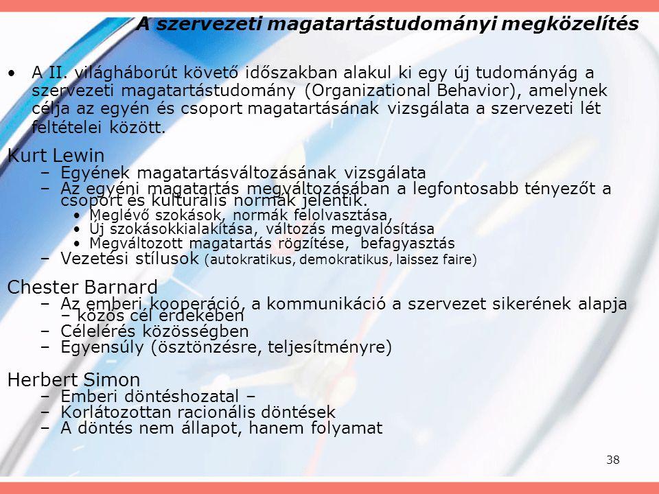 A szervezeti magatartástudományi megközelítés