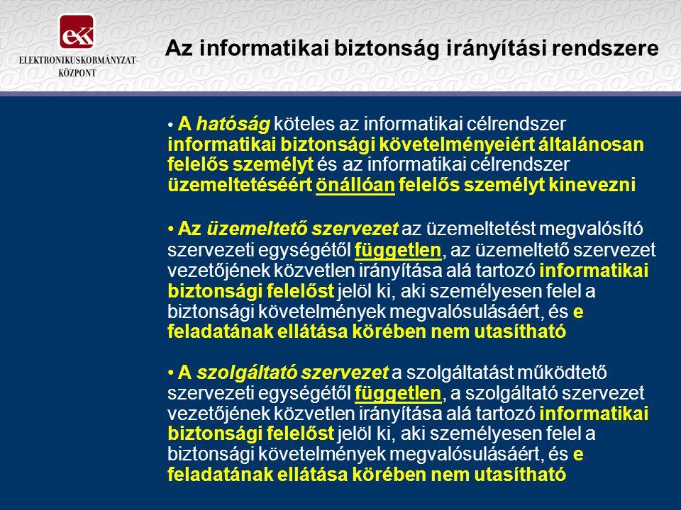 Az informatikai biztonság irányítási rendszere