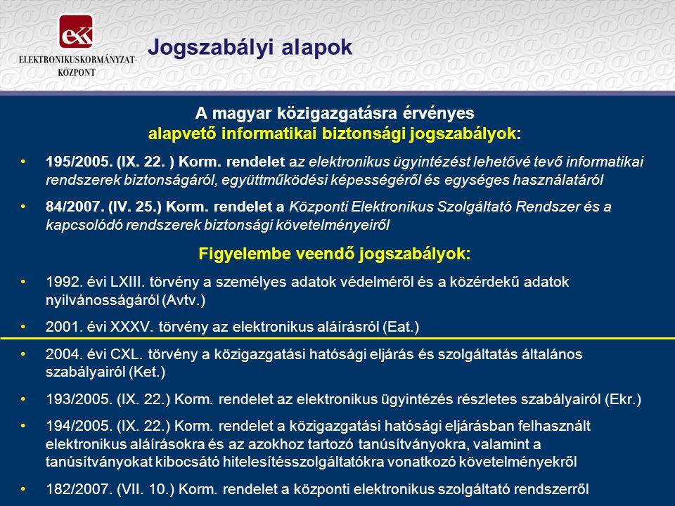 Jogszabályi alapok A magyar közigazgatásra érvényes