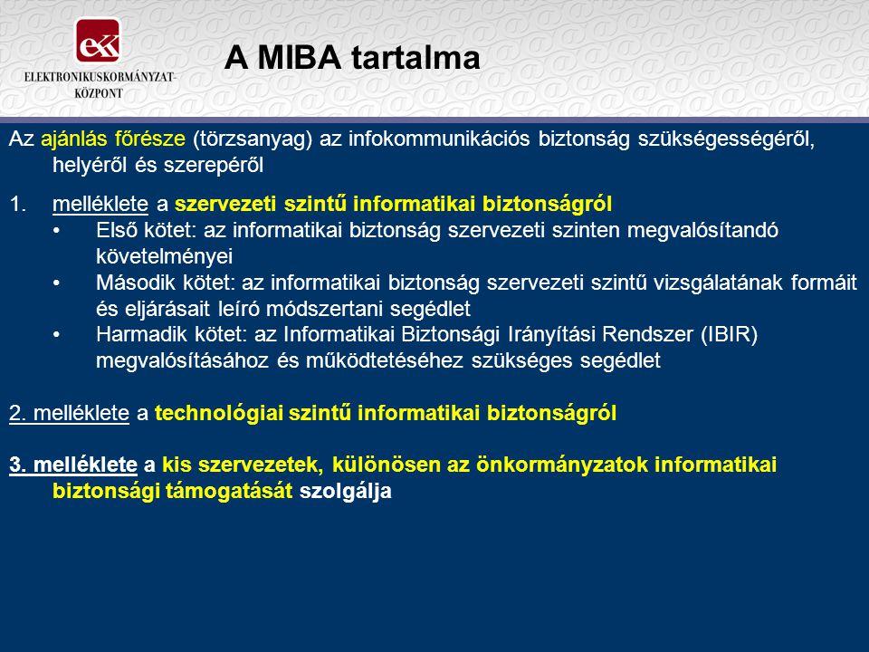 A MIBA tartalma Az ajánlás főrésze (törzsanyag) az infokommunikációs biztonság szükségességéről, helyéről és szerepéről.