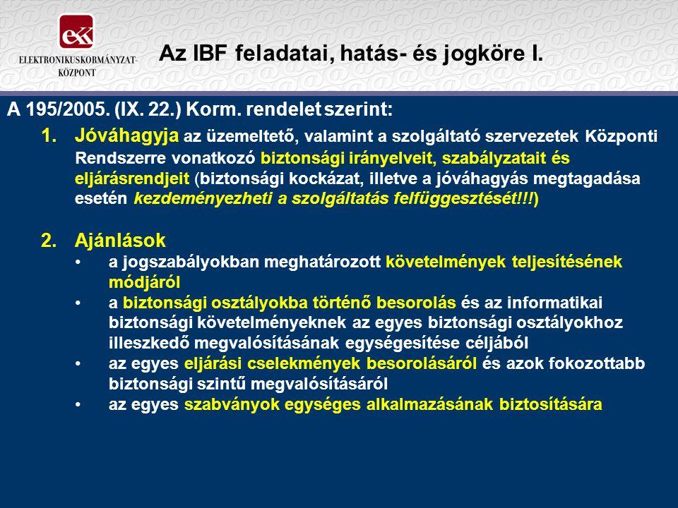 Az IBF feladatai, hatás- és jogköre I.