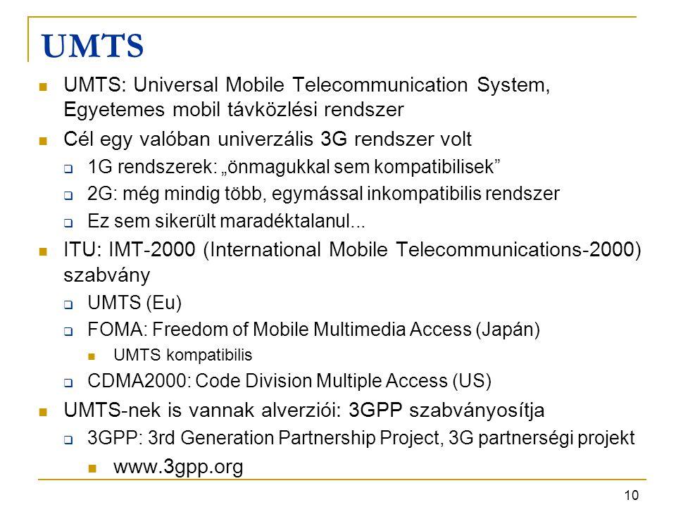 UMTS UMTS: Universal Mobile Telecommunication System, Egyetemes mobil távközlési rendszer. Cél egy valóban univerzális 3G rendszer volt.