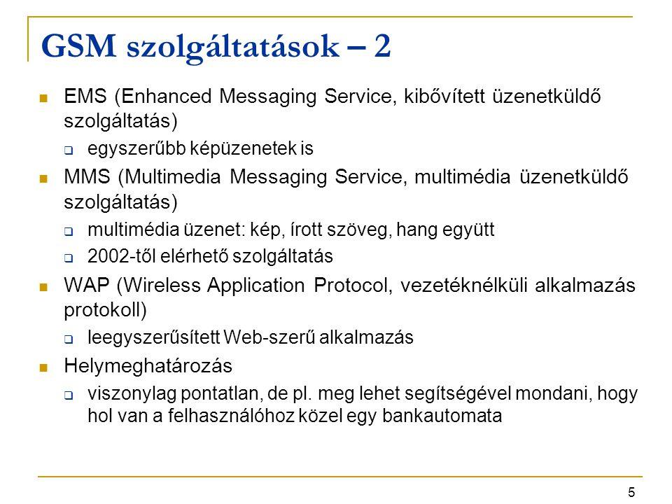 GSM szolgáltatások – 2 EMS (Enhanced Messaging Service, kibővített üzenetküldő szolgáltatás) egyszerűbb képüzenetek is.