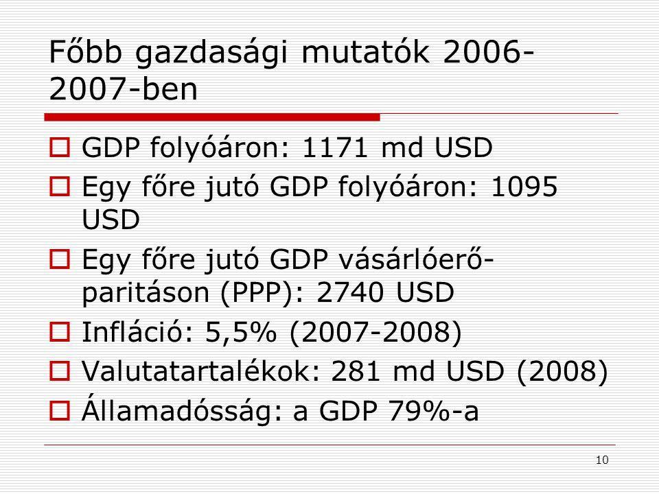 Főbb gazdasági mutatók 2006-2007-ben