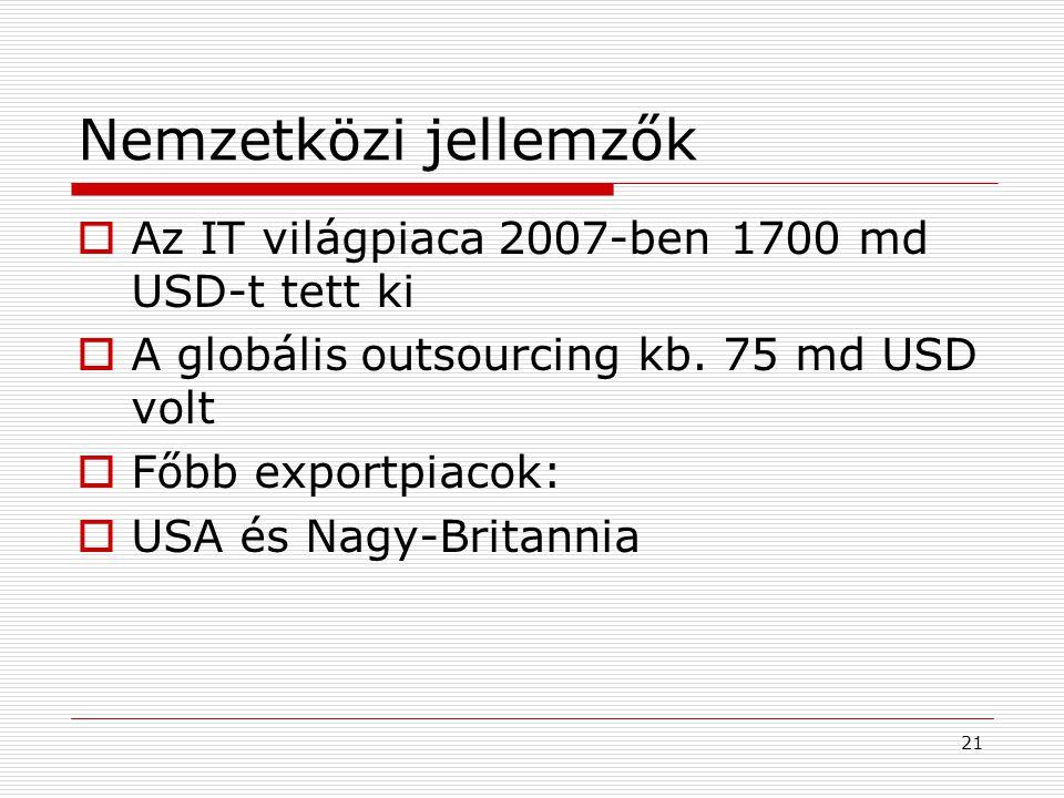 Nemzetközi jellemzők Az IT világpiaca 2007-ben 1700 md USD-t tett ki
