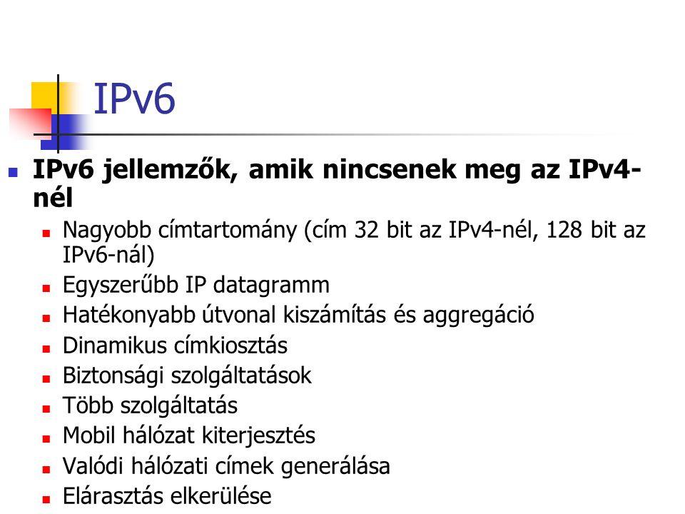 IPv6 IPv6 jellemzők, amik nincsenek meg az IPv4-nél