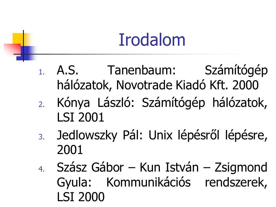 Irodalom A.S. Tanenbaum: Számítógép hálózatok, Novotrade Kiadó Kft. 2000. Kónya László: Számítógép hálózatok, LSI 2001.