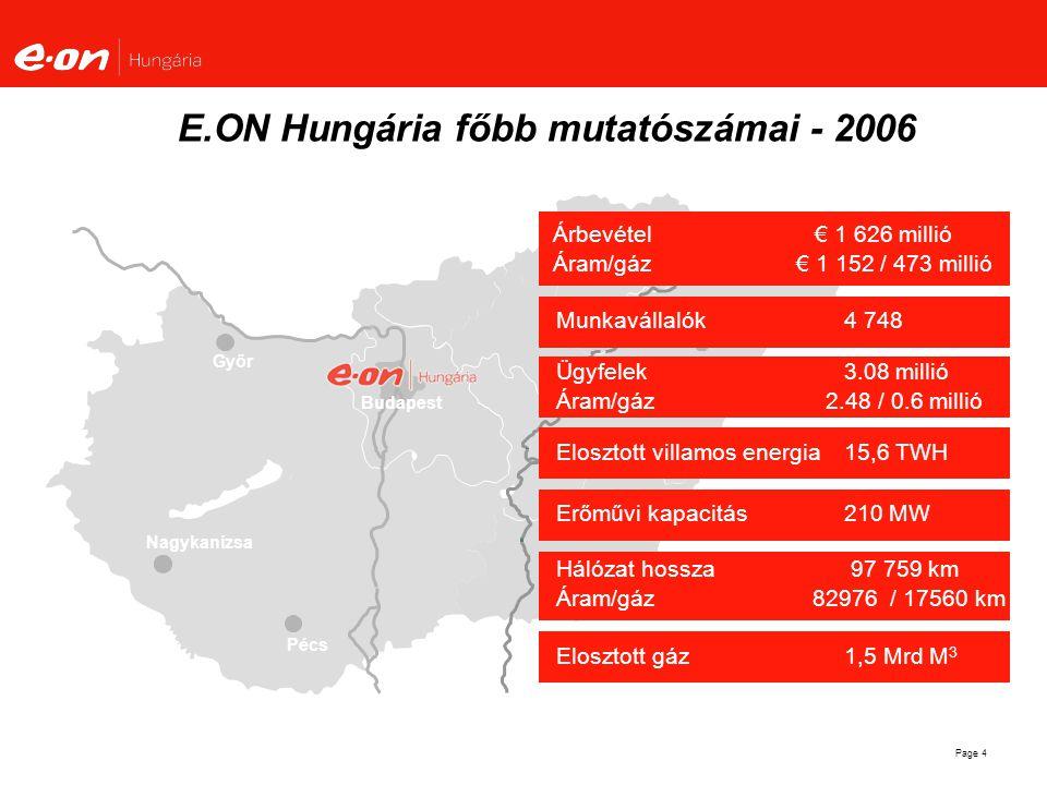 E.ON Hungária főbb mutatószámai - 2006