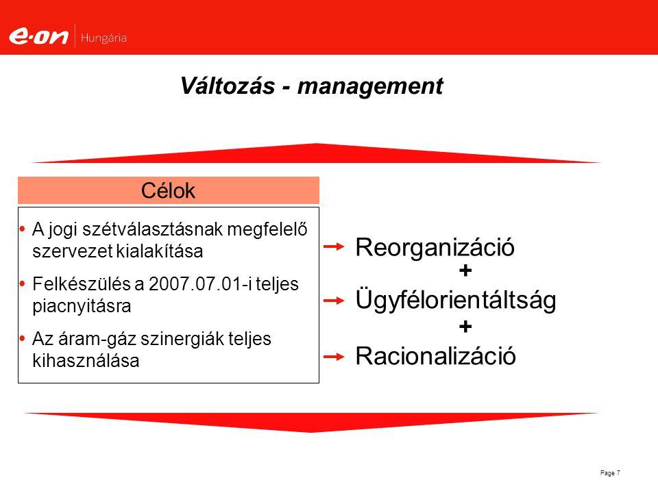 Reorganizáció Ügyfélorientáltság Racionalizáció Változás - management