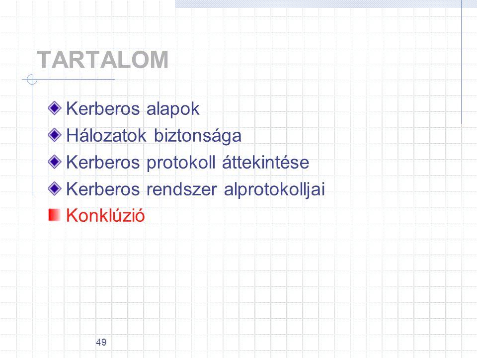 TARTALOM Kerberos alapok Hálozatok biztonsága