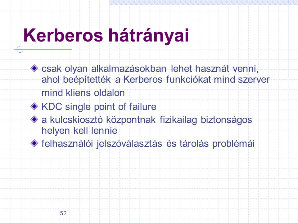 Kerberos hátrányai csak olyan alkalmazásokban lehet hasznát venni, ahol beépítették a Kerberos funkciókat mind szerver mind kliens oldalon.