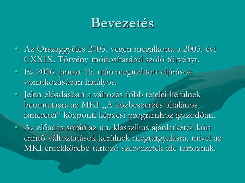 Bevezetés Az Országgyűlés 2005. végén megalkotta a 2003. évi CXXIX. Törvény módosításáról szóló törvényt.