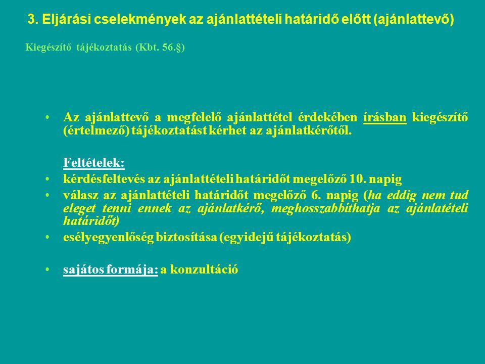 Kiegészítő tájékoztatás (Kbt. 56.§)
