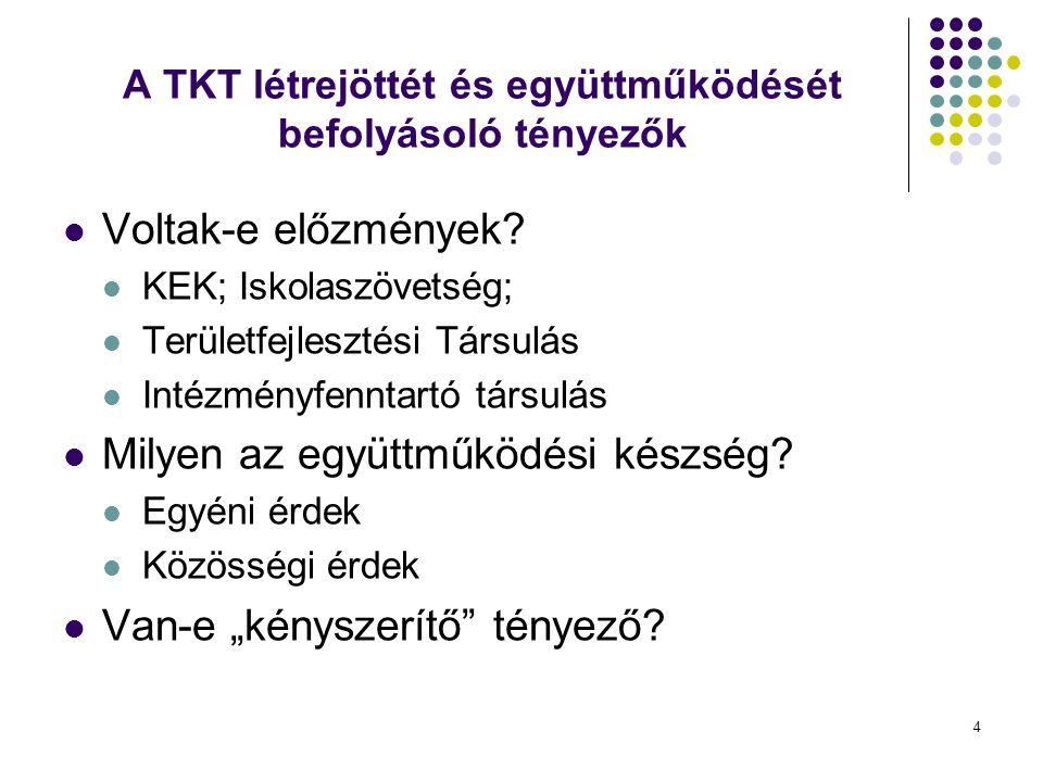 A TKT létrejöttét és együttműködését befolyásoló tényezők