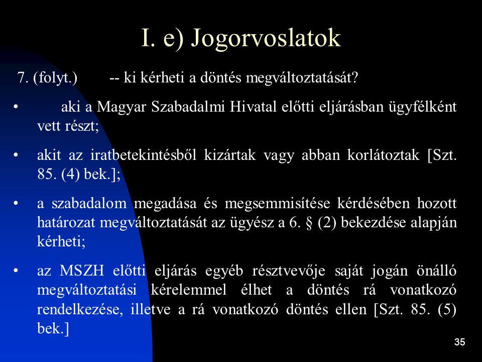 I. e) Jogorvoslatok 7. (folyt.) -- ki kérheti a döntés megváltoztatását aki a Magyar Szabadalmi Hivatal előtti eljárásban ügyfélként vett részt;
