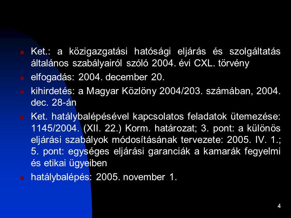 Ket.: a közigazgatási hatósági eljárás és szolgáltatás általános szabályairól szóló 2004. évi CXL. törvény