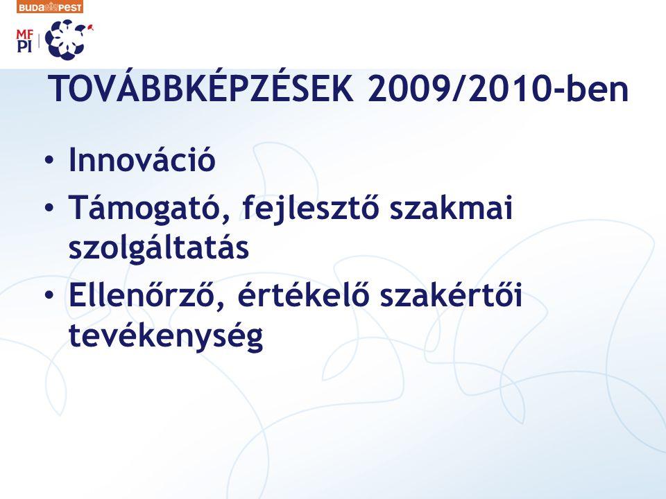 TOVÁBBKÉPZÉSEK 2009/2010-ben Innováció
