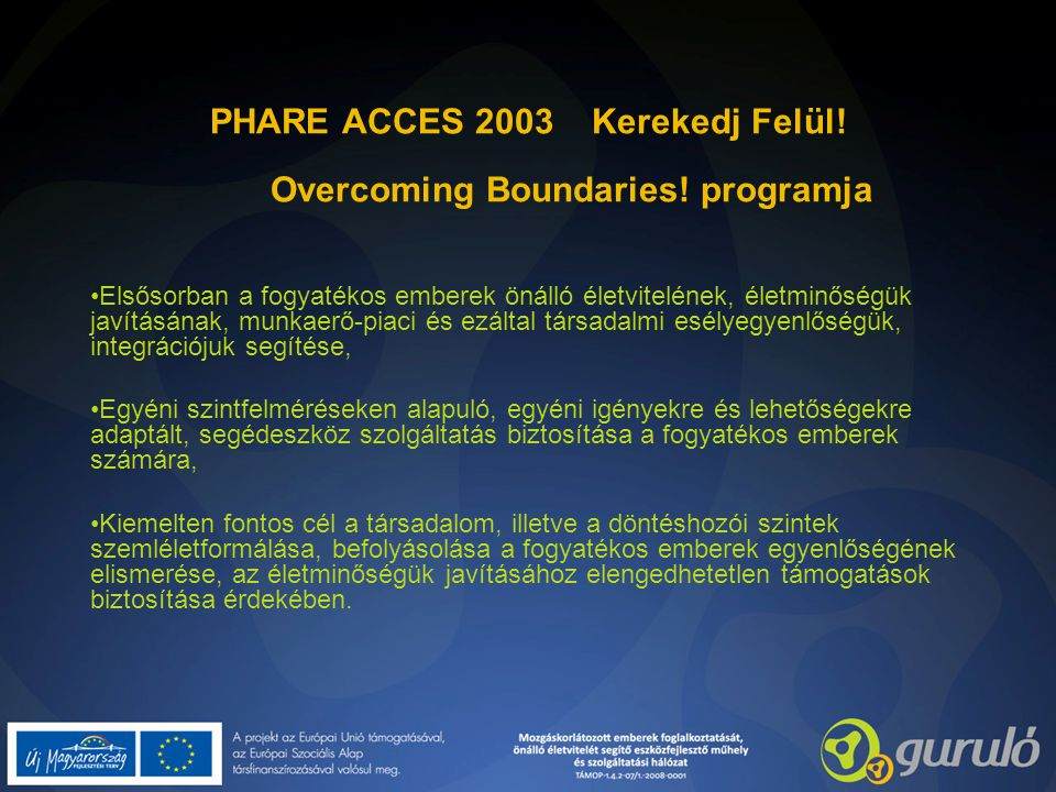 PHARE ACCES 2003 Kerekedj Felül! Overcoming Boundaries! programja