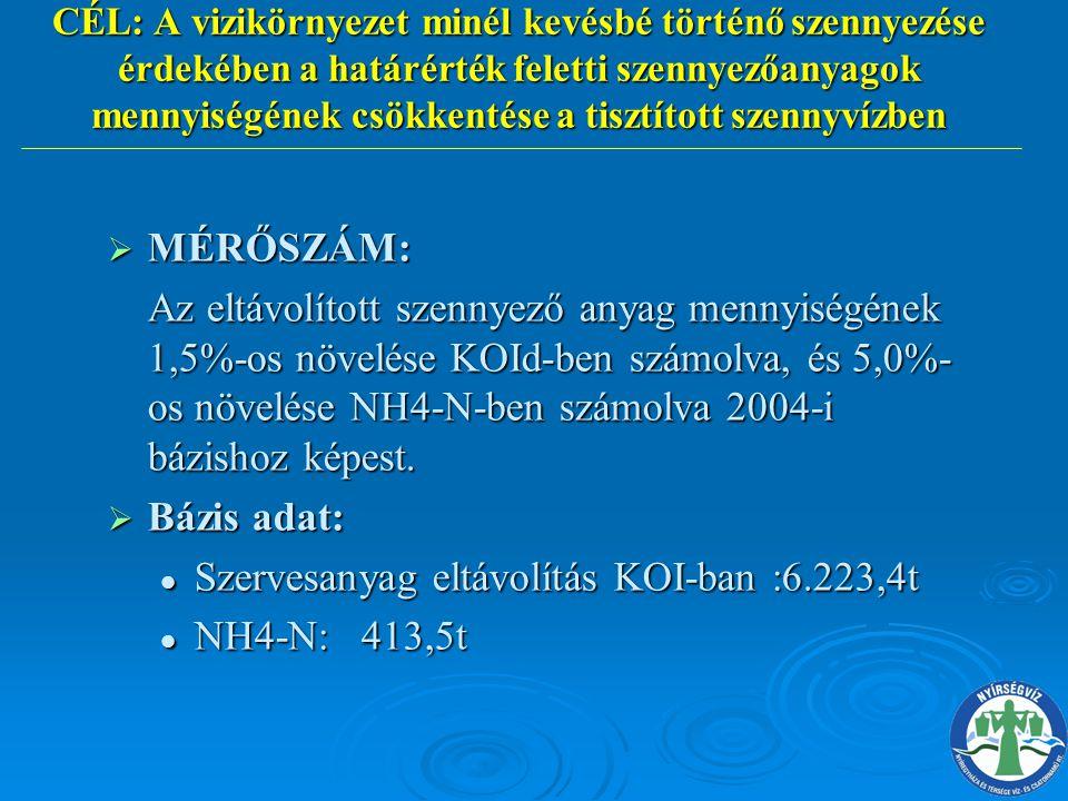 Szervesanyag eltávolítás KOI-ban :6.223,4t NH4-N: 413,5t