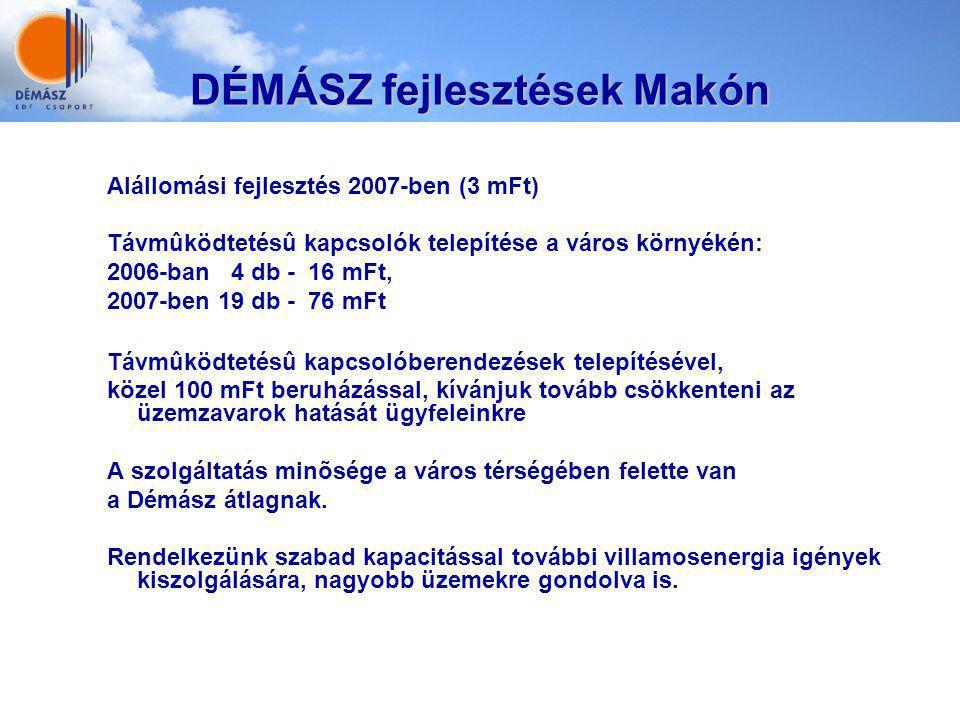 DÉMÁSZ fejlesztések Makón