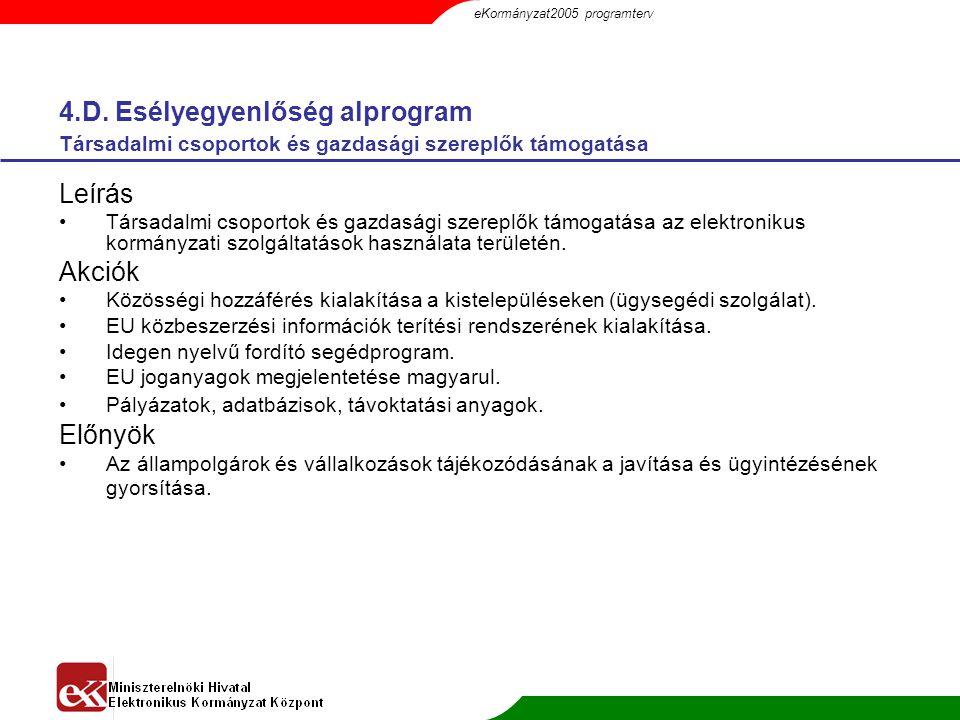 4.D. Esélyegyenlőség alprogram