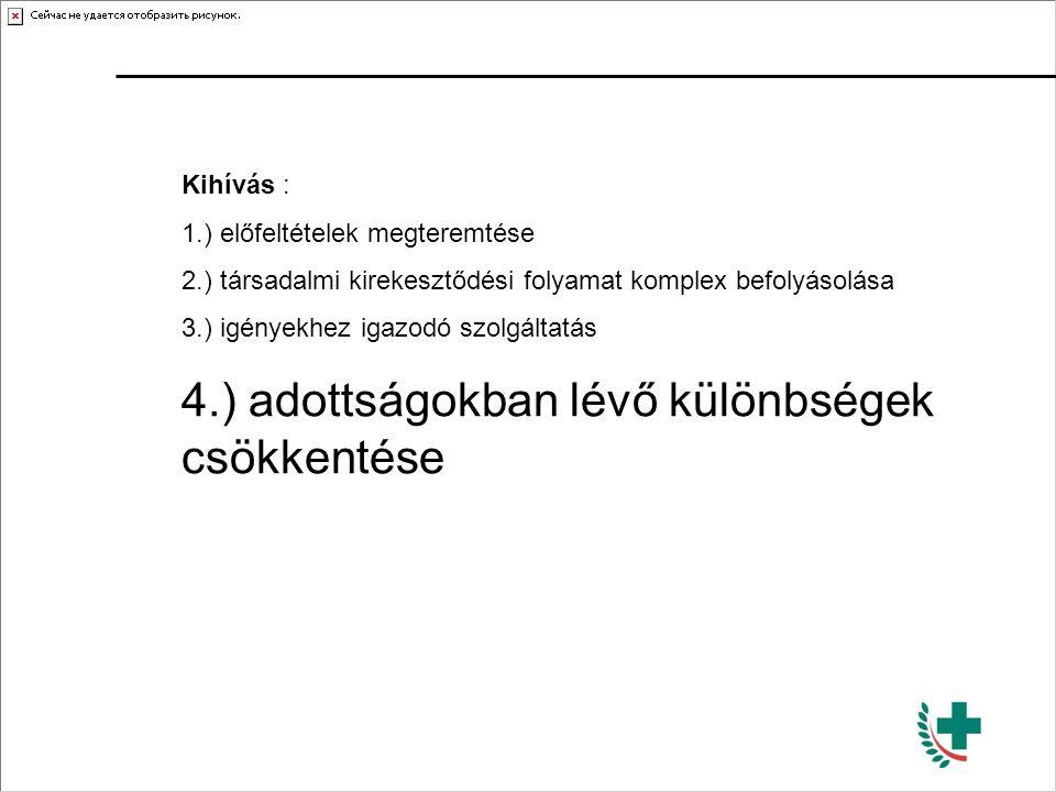 4.) adottságokban lévő különbségek csökkentése