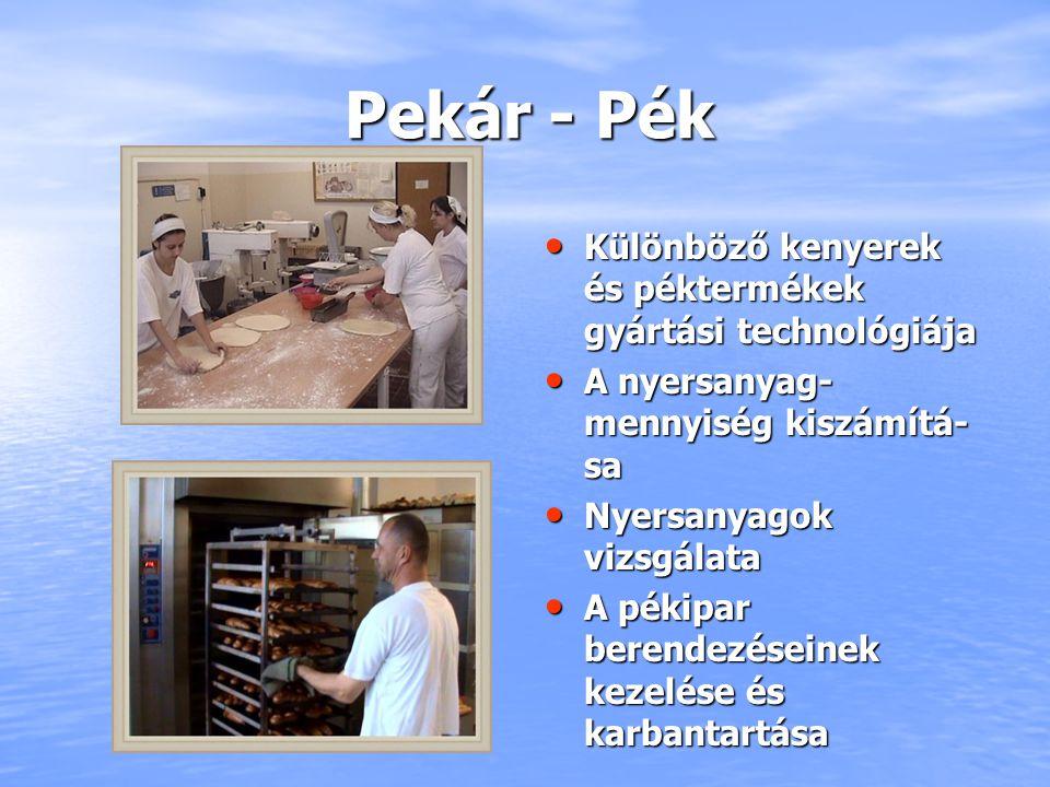 Pekár - Pék Különböző kenyerek és péktermékek gyártási technológiája