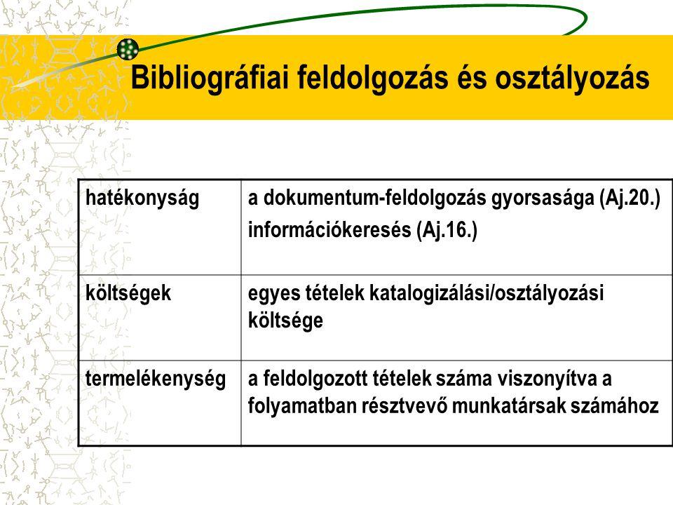 Bibliográfiai feldolgozás és osztályozás