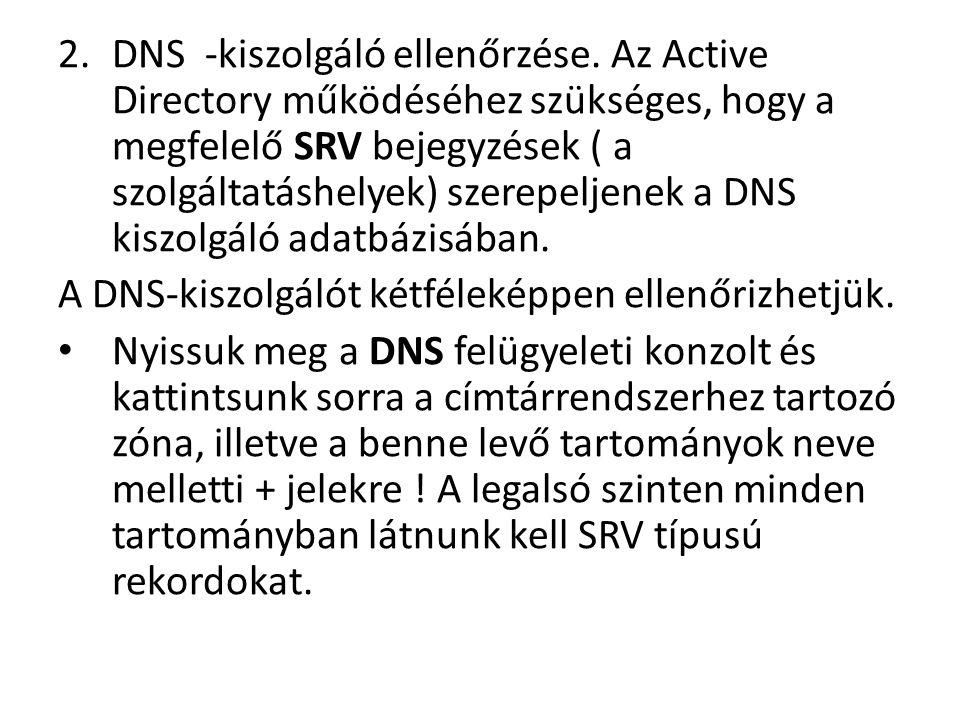 DNS -kiszolgáló ellenőrzése