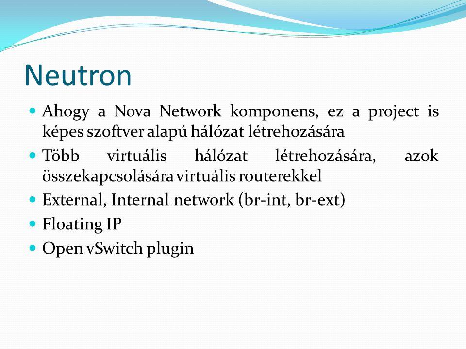 Neutron Ahogy a Nova Network komponens, ez a project is képes szoftver alapú hálózat létrehozására.
