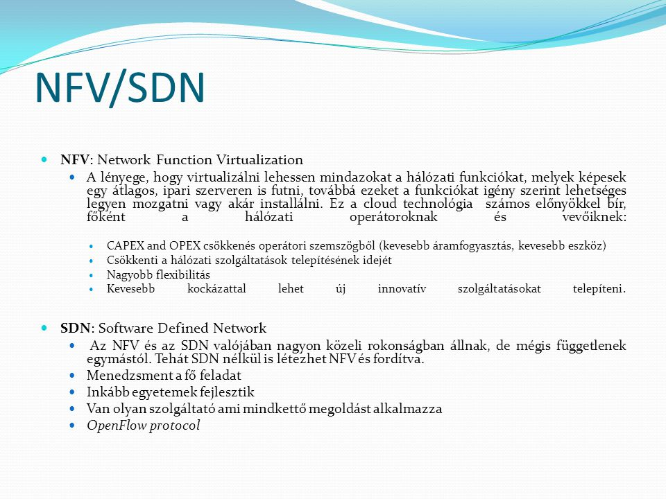 NFV/SDN NFV: Network Function Virtualization