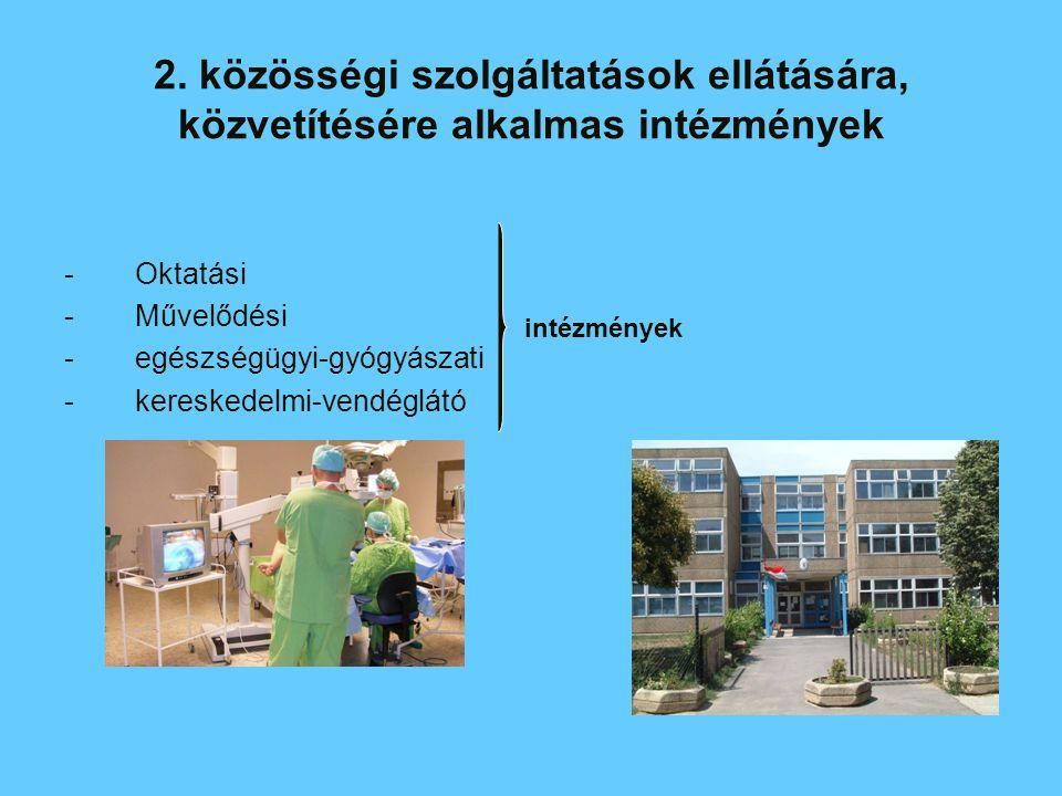 2. közösségi szolgáltatások ellátására, közvetítésére alkalmas intézmények