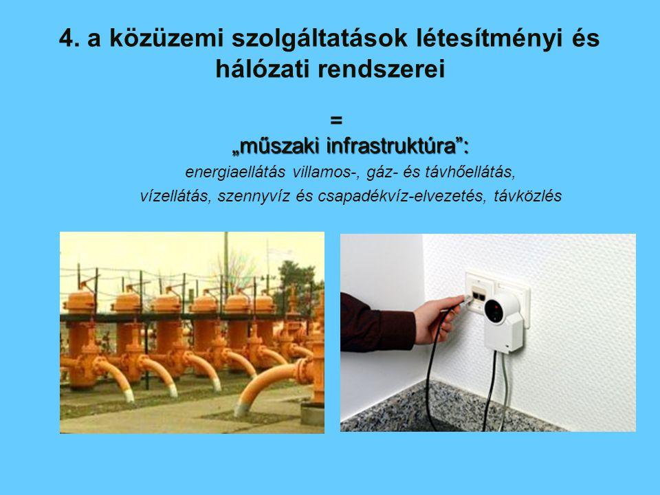 4. a közüzemi szolgáltatások létesítményi és hálózati rendszerei