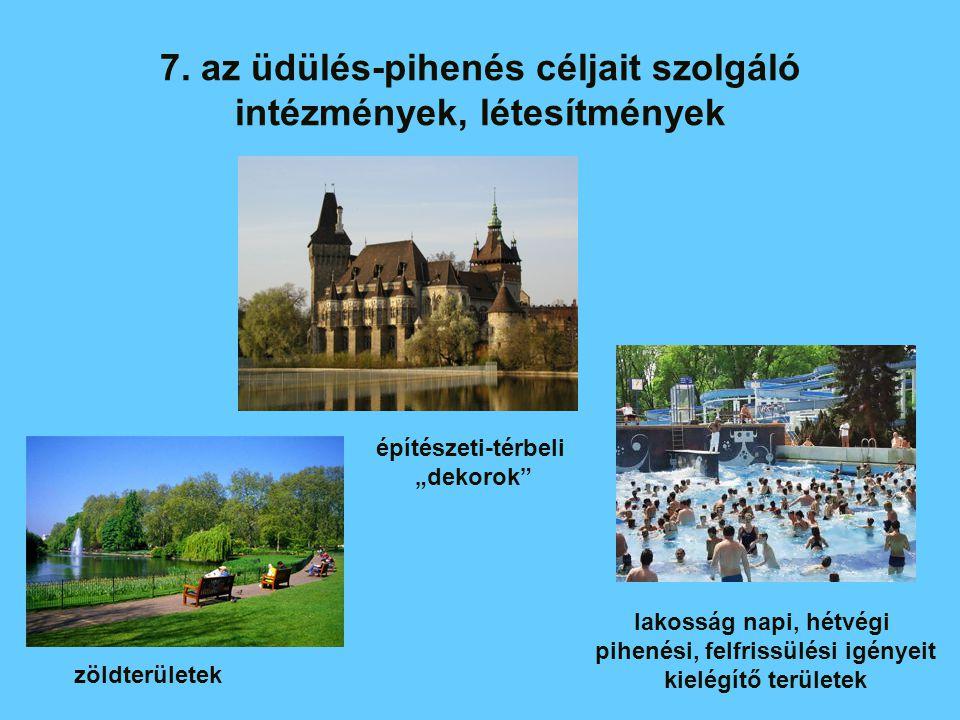 7. az üdülés-pihenés céljait szolgáló intézmények, létesítmények