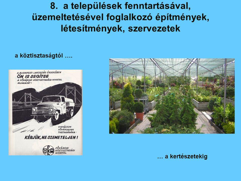 8. a települések fenntartásával, üzemeltetésével foglalkozó építmények, létesítmények, szervezetek