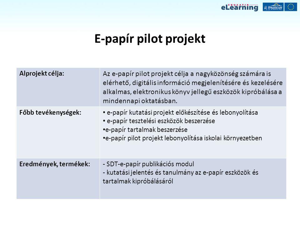 E-papír pilot projekt Alprojekt célja: