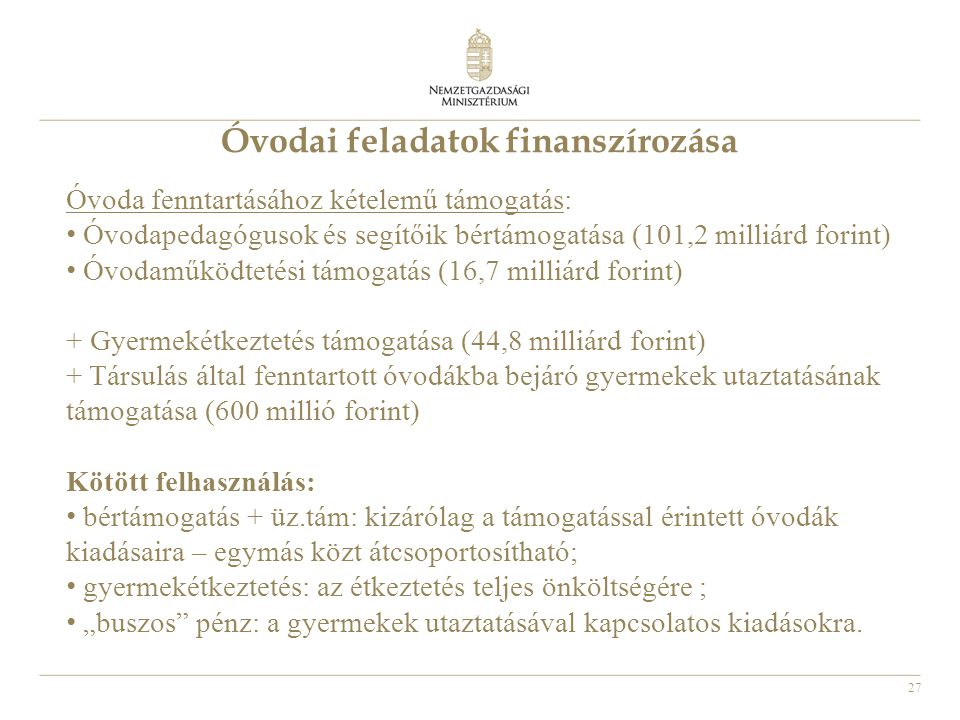 Óvodai feladatok finanszírozása