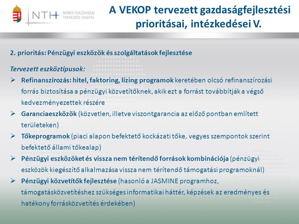 A VEKOP tervezett gazdaságfejlesztési prioritásai, intézkedései V.