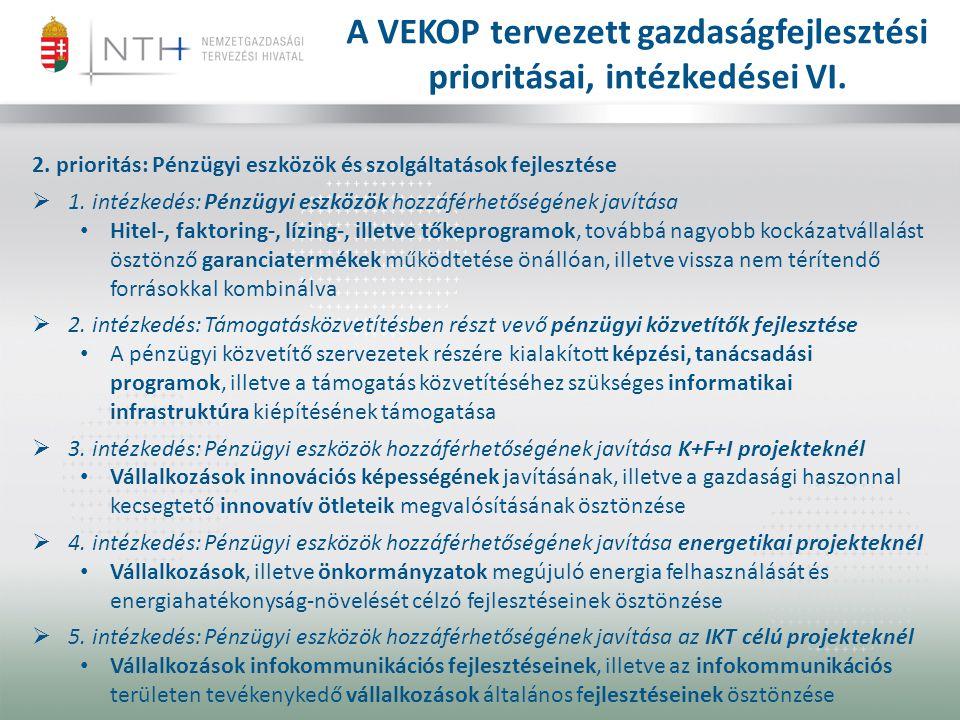A VEKOP tervezett gazdaságfejlesztési prioritásai, intézkedései VI.