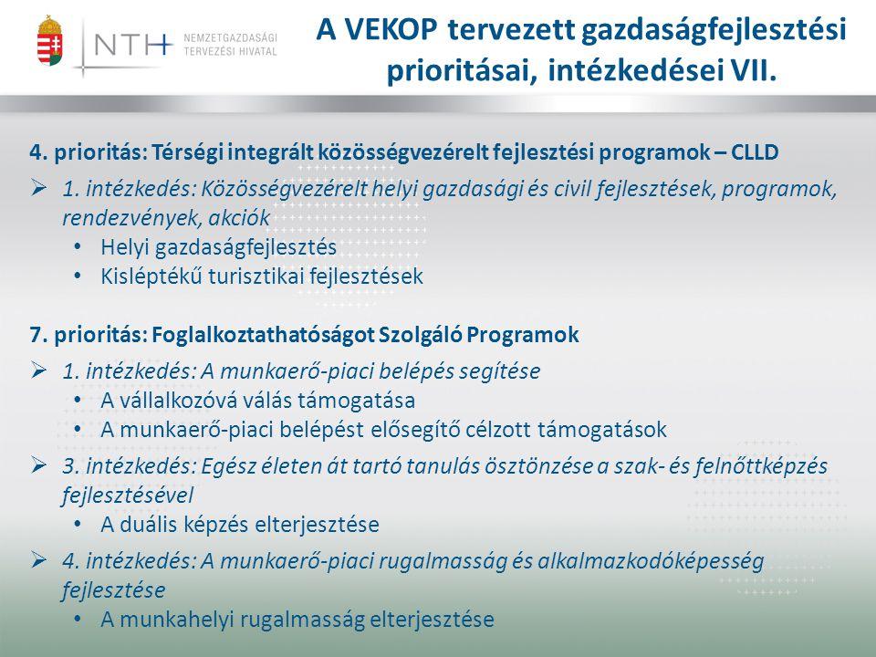A VEKOP tervezett gazdaságfejlesztési prioritásai, intézkedései VII.