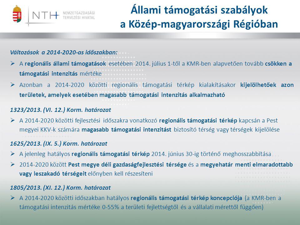 Állami támogatási szabályok a Közép-magyarországi Régióban