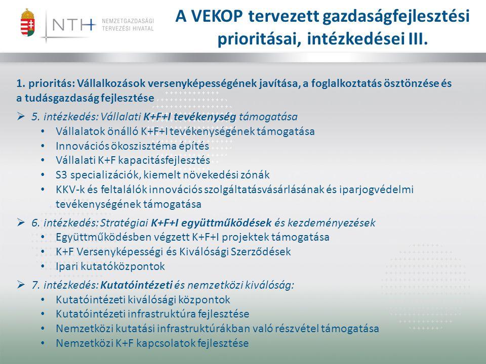 A VEKOP tervezett gazdaságfejlesztési prioritásai, intézkedései III.