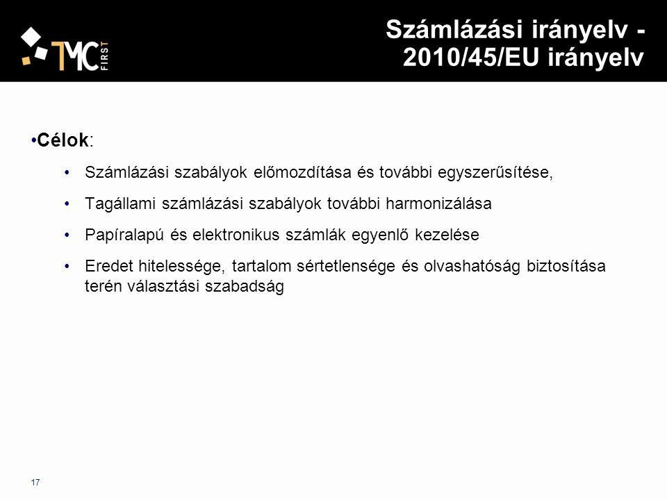 Számlázási irányelv - 2010/45/EU irányelv