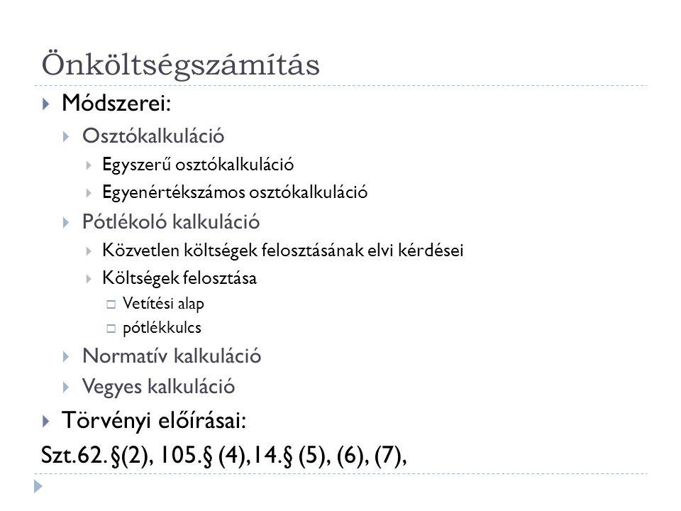 Önköltségszámítás Módszerei: Törvényi előírásai: