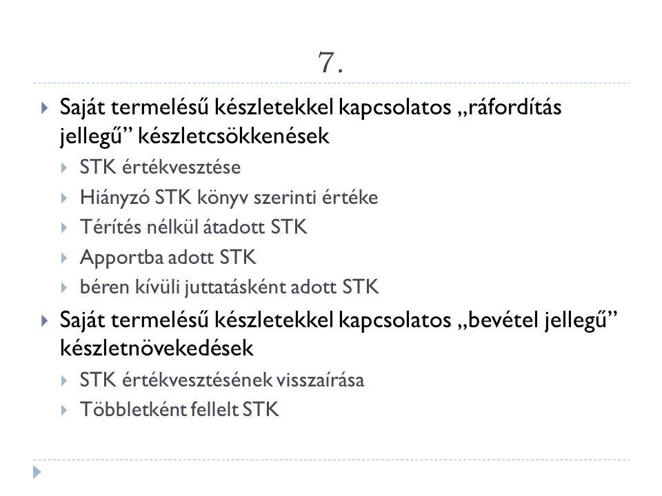 """7. Saját termelésű készletekkel kapcsolatos """"ráfordítás jellegű készletcsökkenések. STK értékvesztése."""