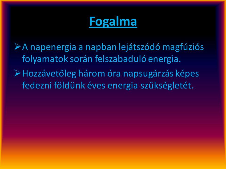 Fogalma A napenergia a napban lejátszódó magfúziós folyamatok során felszabaduló energia.
