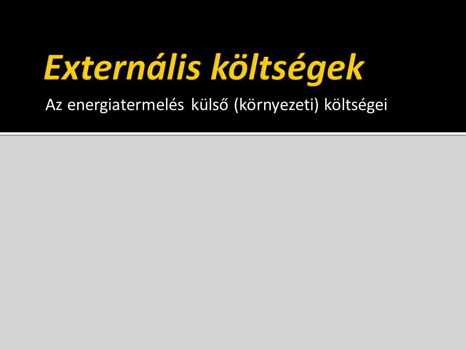 Externális költségek Az energiatermelés külső (környezeti) költségei