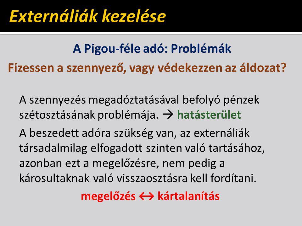 A Pigou-féle adó: Problémák megelőzés ↔ kártalanítás