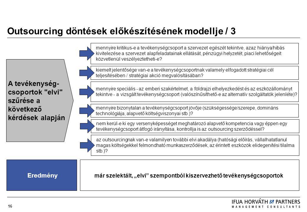 Outsourcing döntések előkészítésének modellje / 3