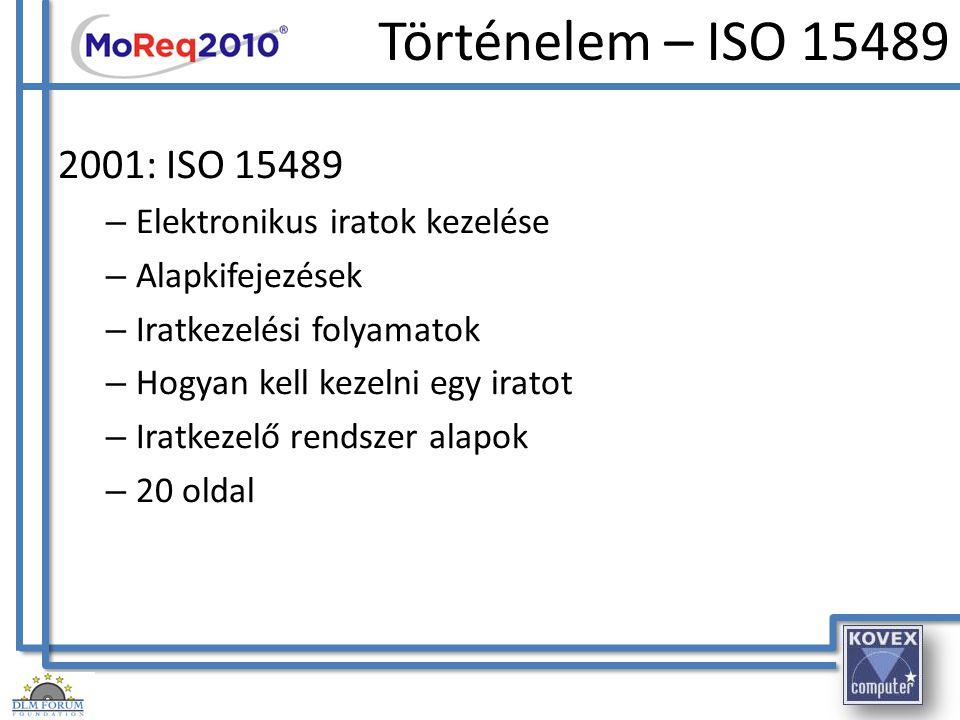 Történelem – ISO 15489 2001: ISO 15489 Elektronikus iratok kezelése